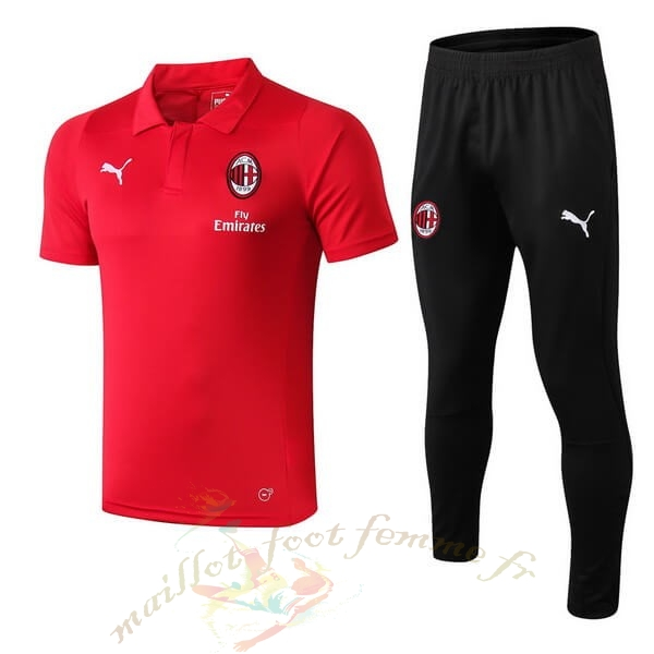 Destockage Maillot Football PUMA Ensemble Polo AC Milan 2018 2019 Rouge