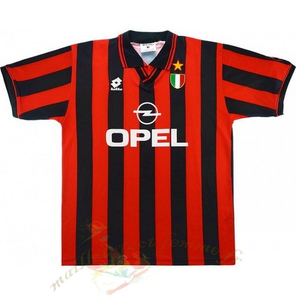 Destockage Maillot Football Adidas Domicile Maillot AC Milan Retro 1996 1997 Noir Rouge
