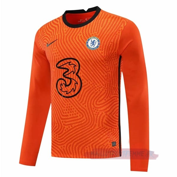 Destockage Maillot Football Nike Manches Longues Gardien Chelsea 2020 2021 Orange