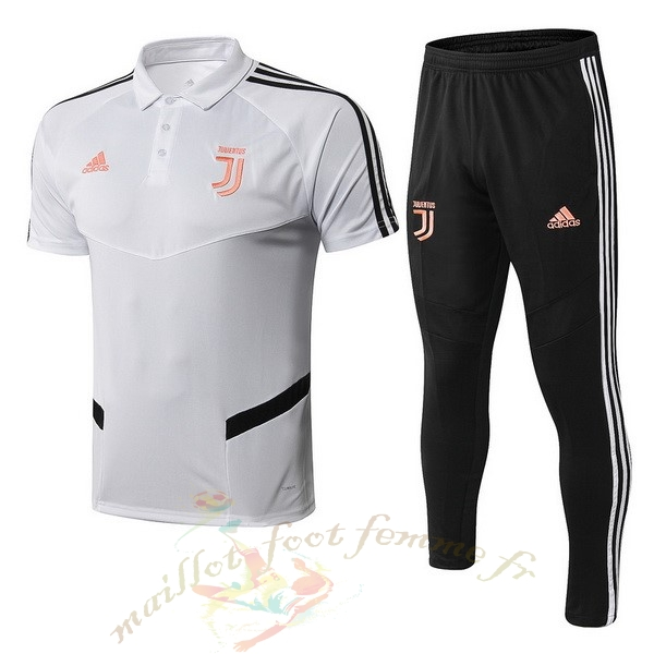 Destockage Maillot Football adidas Ensemble Polo Juventus 2019 2020 Blanc Orange