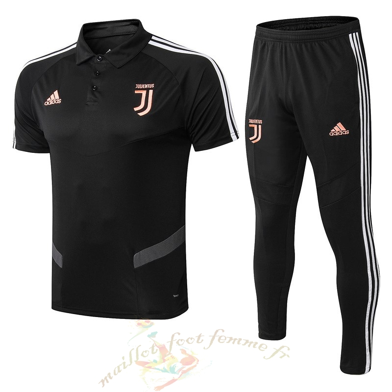 Destockage Maillot Football adidas Ensemble Polo Juventus 2019 2020 Noir Orange